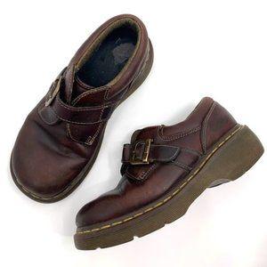 DR. MARTENS Monk Strap Platform Shoe Brown Leather